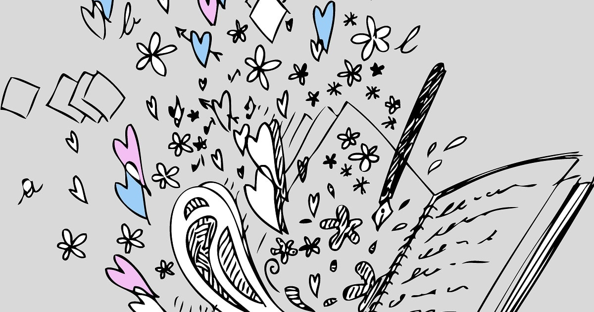ラクガキが飛び出した線画のイラスト