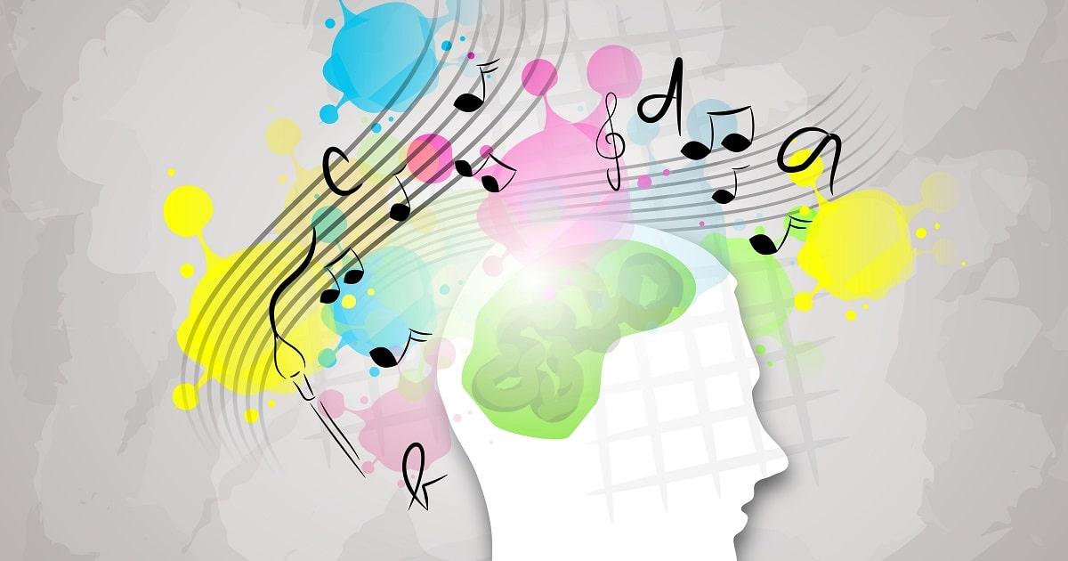 音楽が脳に作用している脳のイラスト