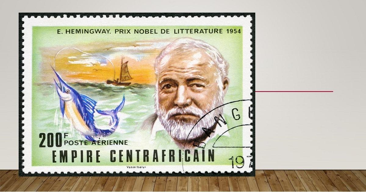 アーネスト・ヘミングウェイと『老人と海』が描かれた切手