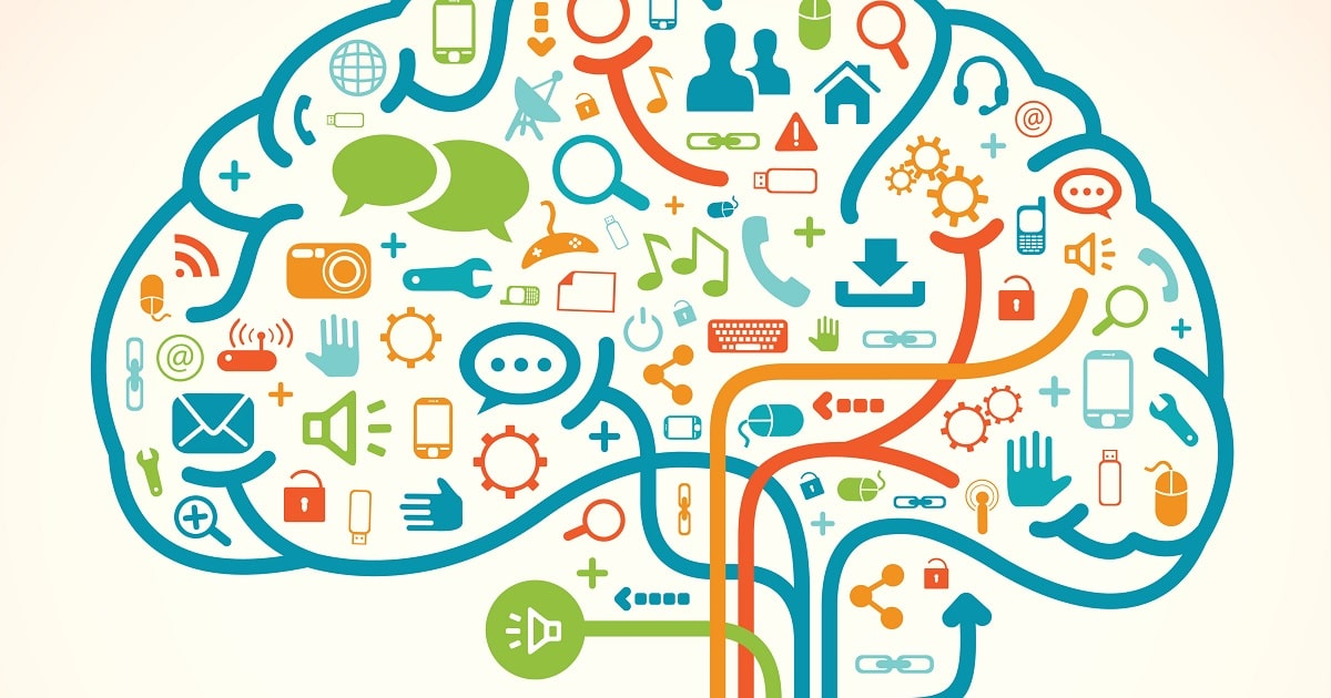 カラフルな脳のイラスト