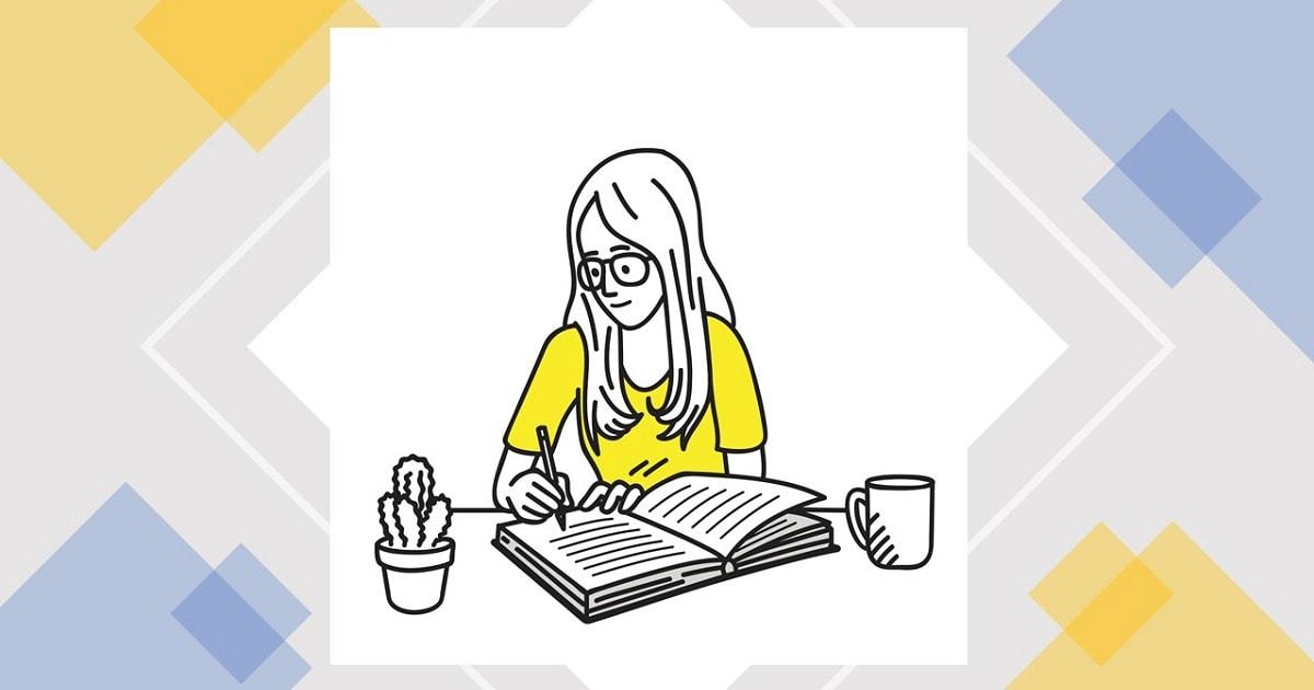 静かに穏やかに勉強するHSPの女性のイラスト
