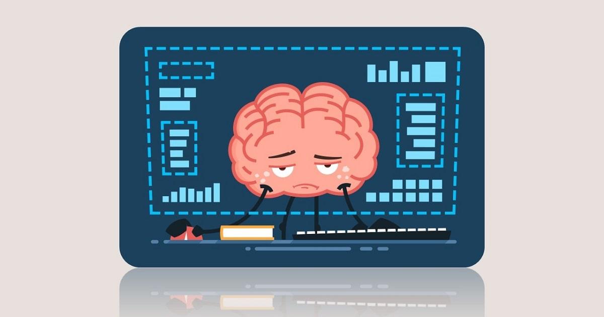 パソコンの前で仕事する、疲れた脳のイラスト