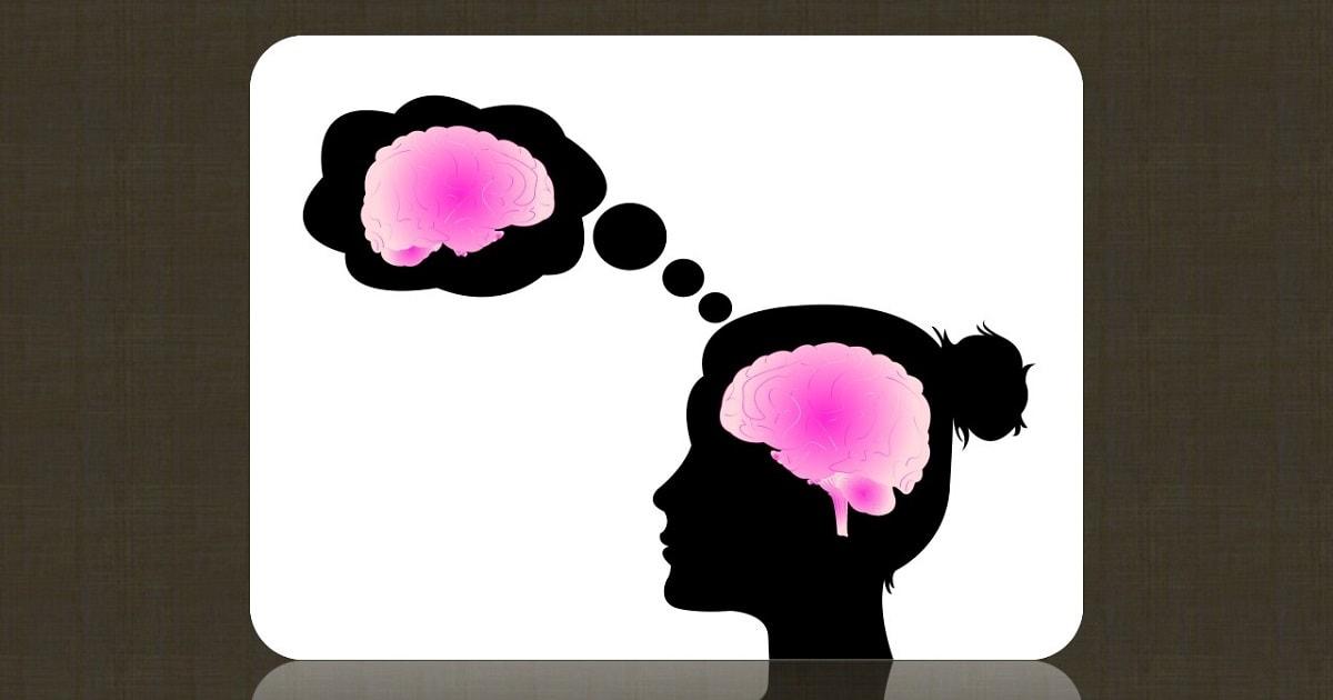 女性のメタ認知を表すシルエットのイラスト