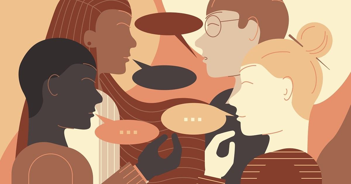 顔を合わせて会話するさまざまな民族の若者のグループのイラスト