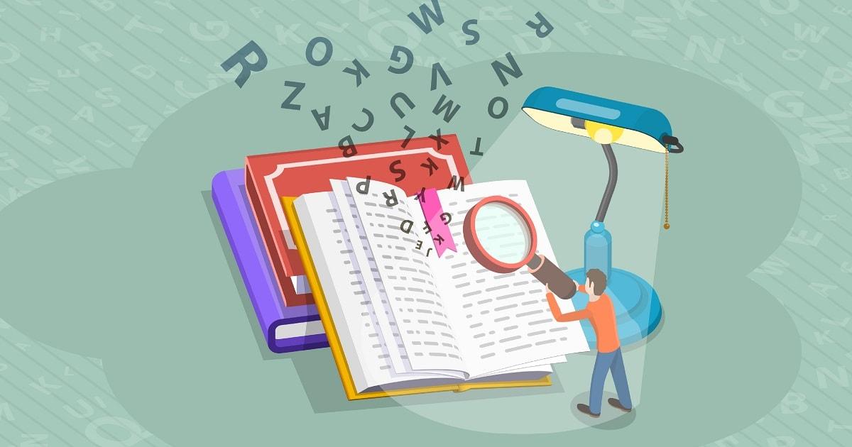 男性がノートあるいは辞書を検索しているデフォルメされたイラスト