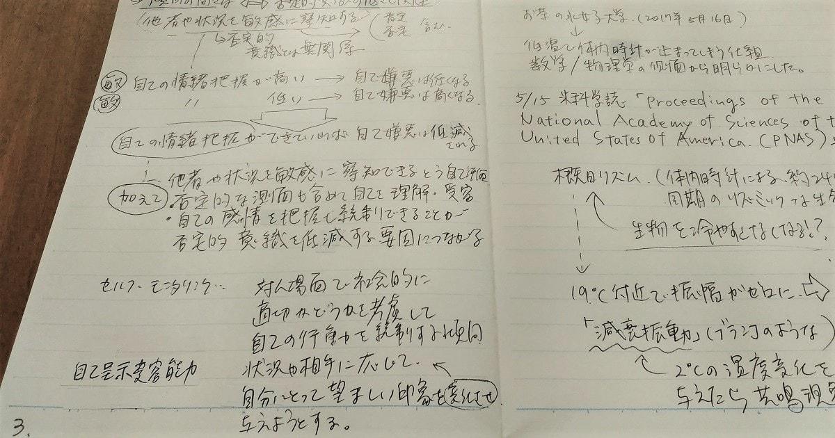 「どこに書いたかわかるノート」を実際にやってみた画像
