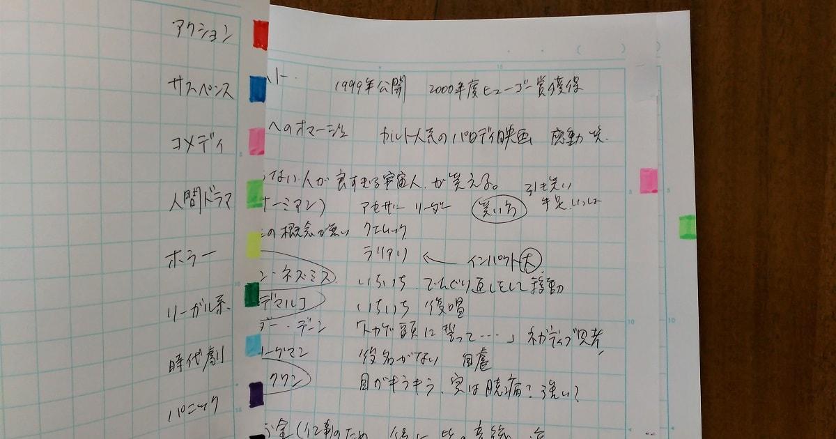 実際につくって書いた色分け検索ノート