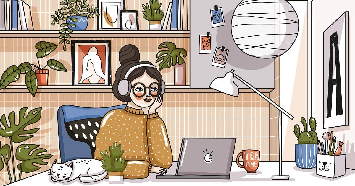 個性的な部屋で勉強する女性