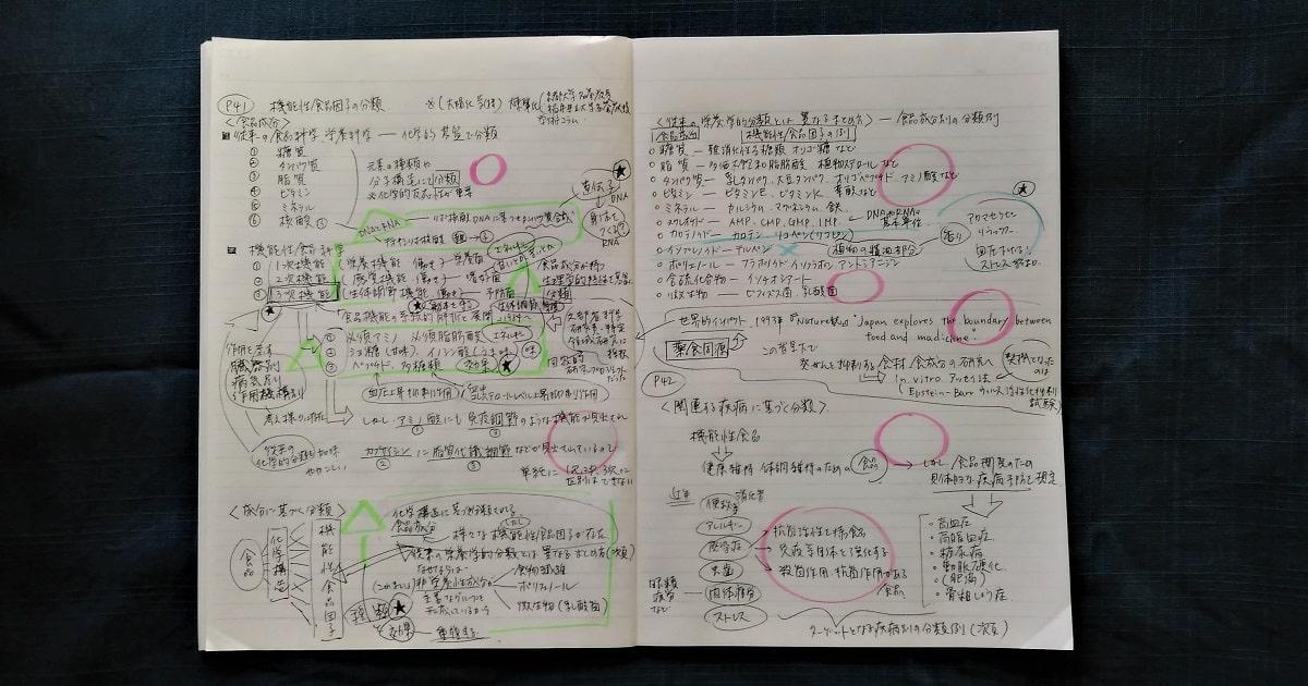 モニタリング勉強法ノート。三角印とバツ印の部分に推論を書き終えた状態