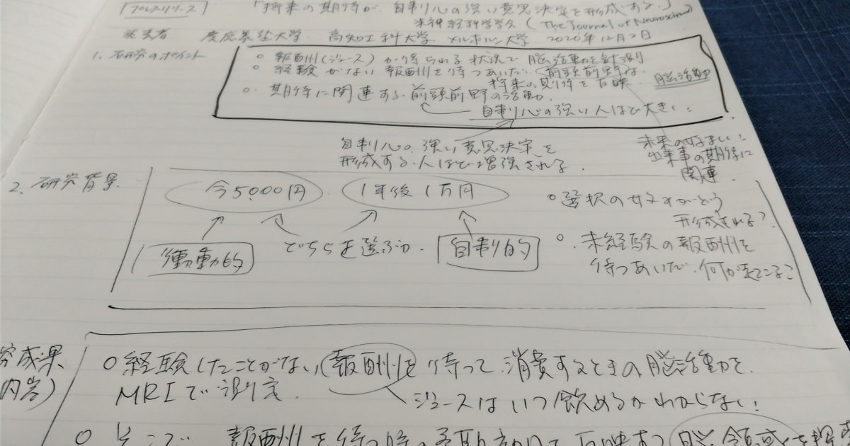 研究成果のプレスリリースでよく見るフォーマットをまねて書いたノートの画像