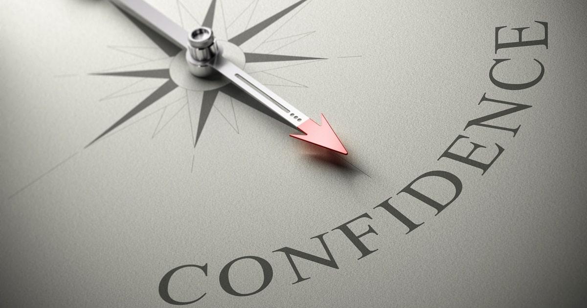 針が「Confidence(自信)」の文字を指している様子