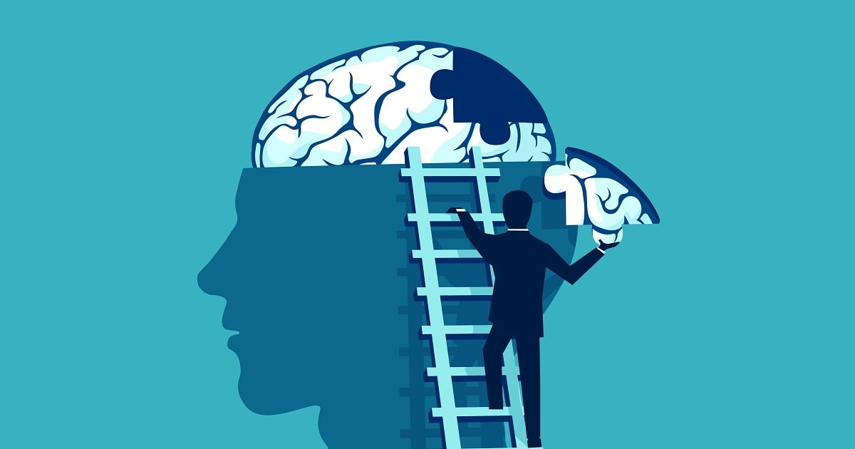 記憶のパズルピースをはめ込むビジネスパーソン