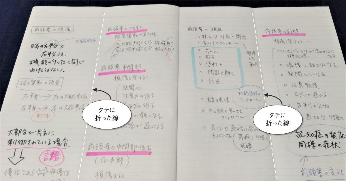 半分に折って使う手書きノートの実践版