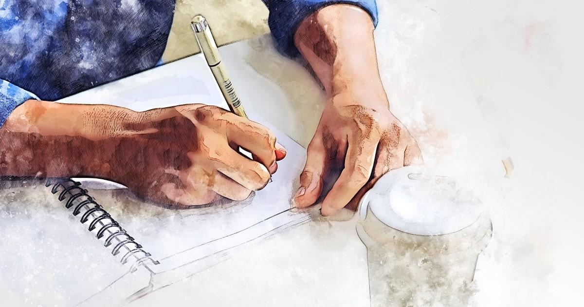 日記を書く男性の手。水彩画で描いたビジネスパーソンの手