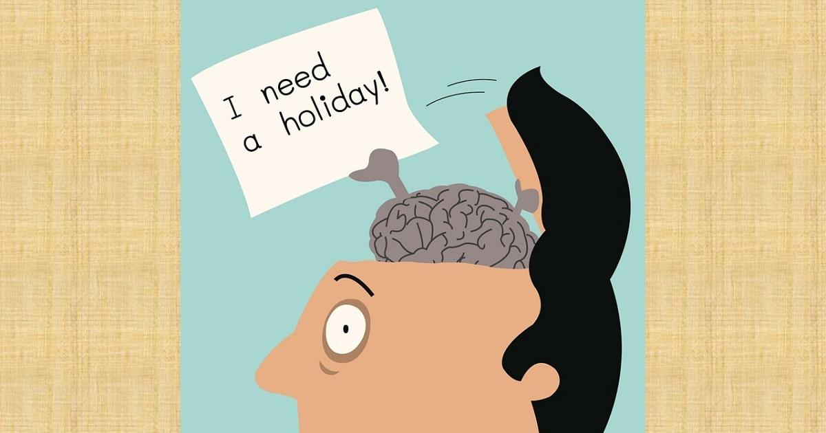 休暇をとりたがっている脳のイラスト