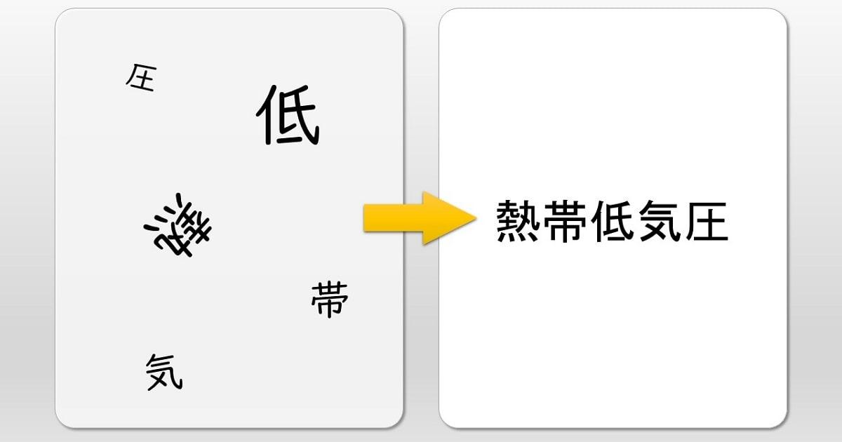 バラバラになった文字を、既存の言葉に変換するトレーニング