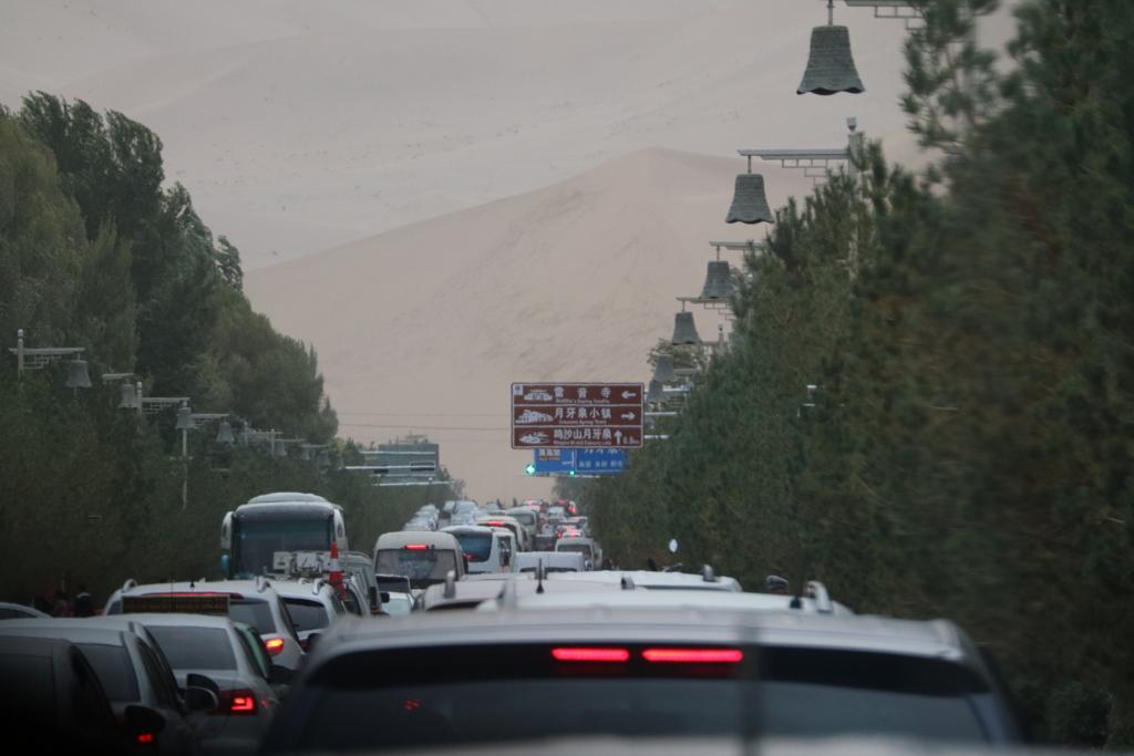 鳴砂山に向かう途中の渋滞