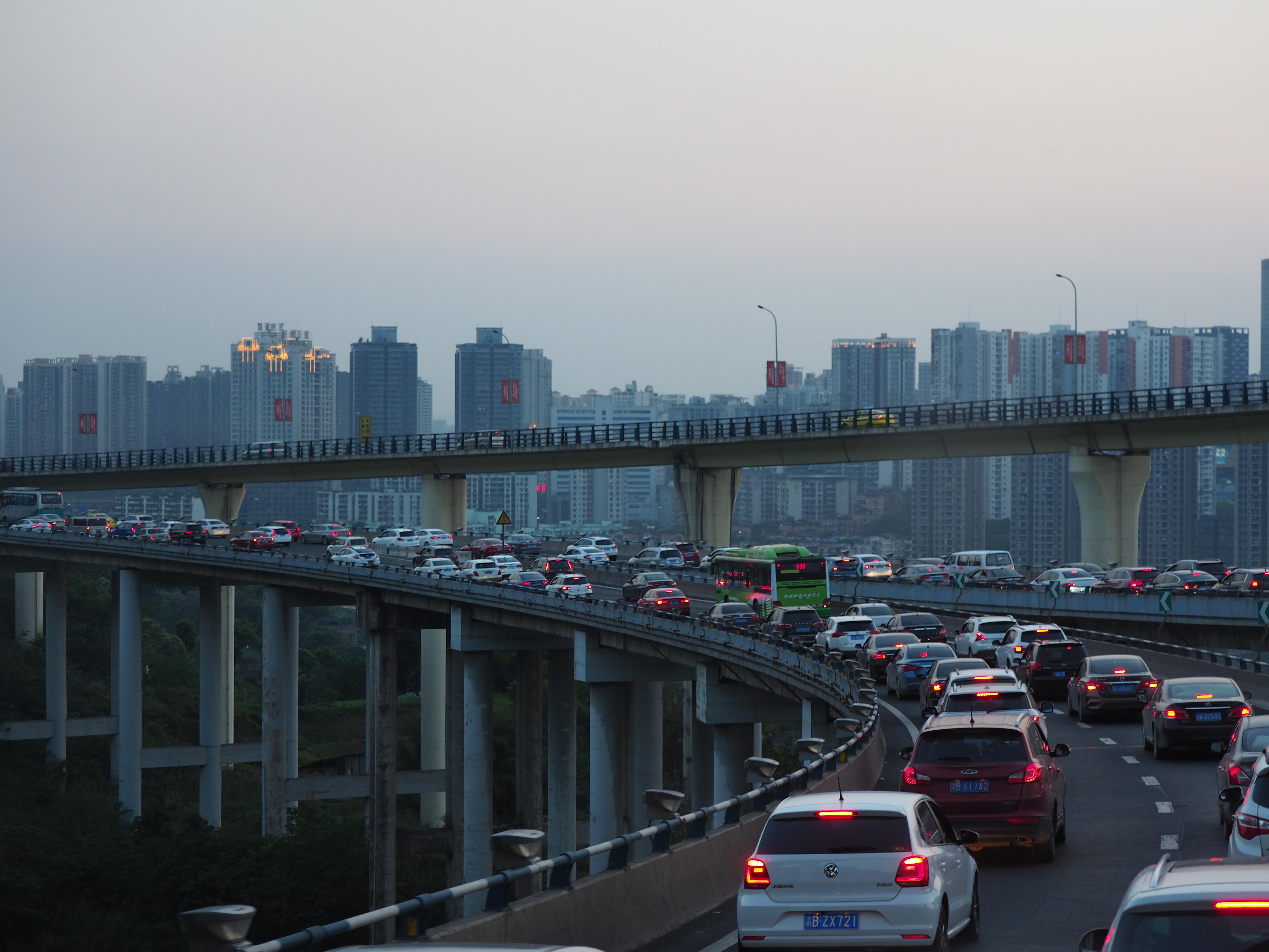 重慶市内の渋滞