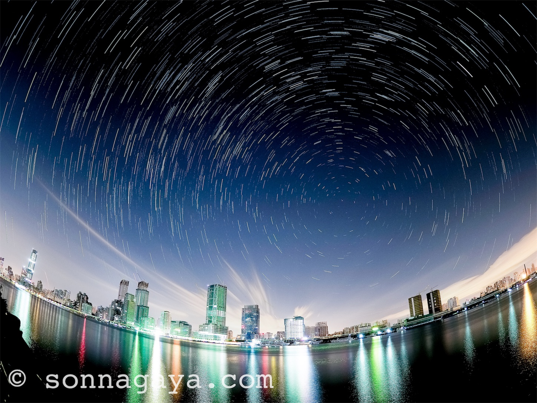 上海の夜空の星の軌跡