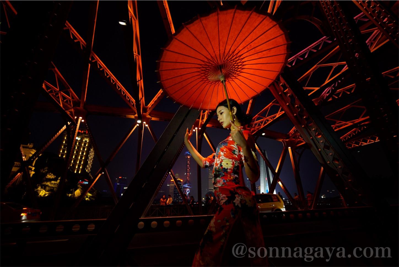 上海蘇州川チャイナドレス美女ポートレート
