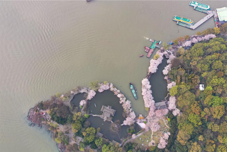 無錫鼋頭渚,長春橋当たりの上空写真