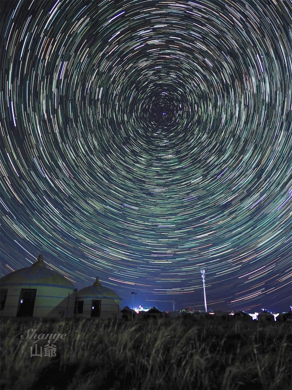 内モンゴルの星空,パナライカ12mm,星空,星の軌跡,星のぐるぐる