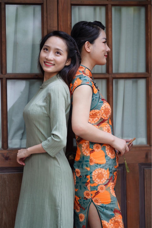 上海多倫路文化街,チャイナドレス,Wモデル