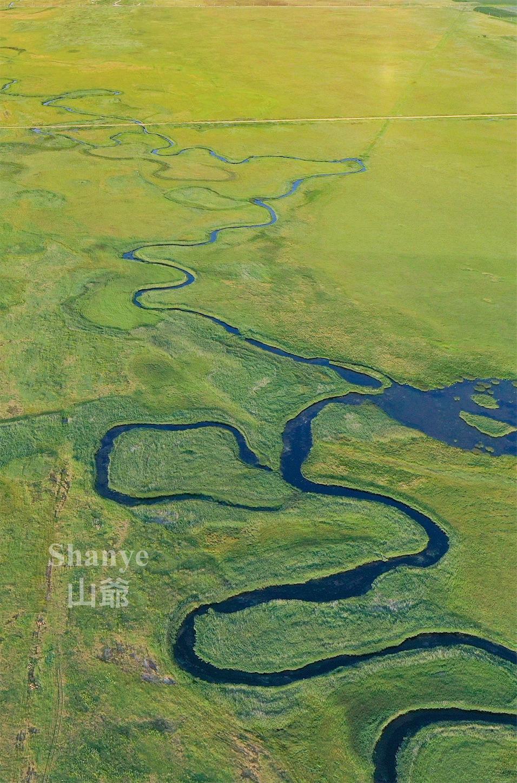 元上都の遺跡Site of Xanadu,上空,九曲湾