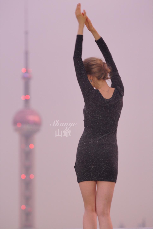 上海の風景でポートレート夜景前