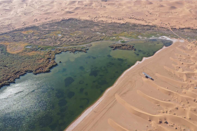 腾格里沙漠(トングリ砂漠)のオアシス「月亮湖」