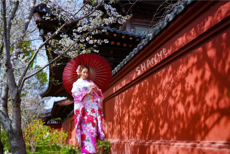 上海,桜ポートレート,振り袖,和服,广富林,FE35mmF1.4GM