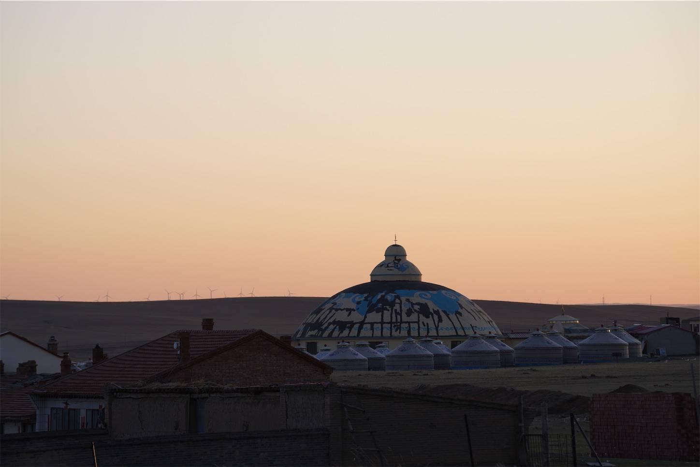 内モンゴルシラムレン草原の夕日3
