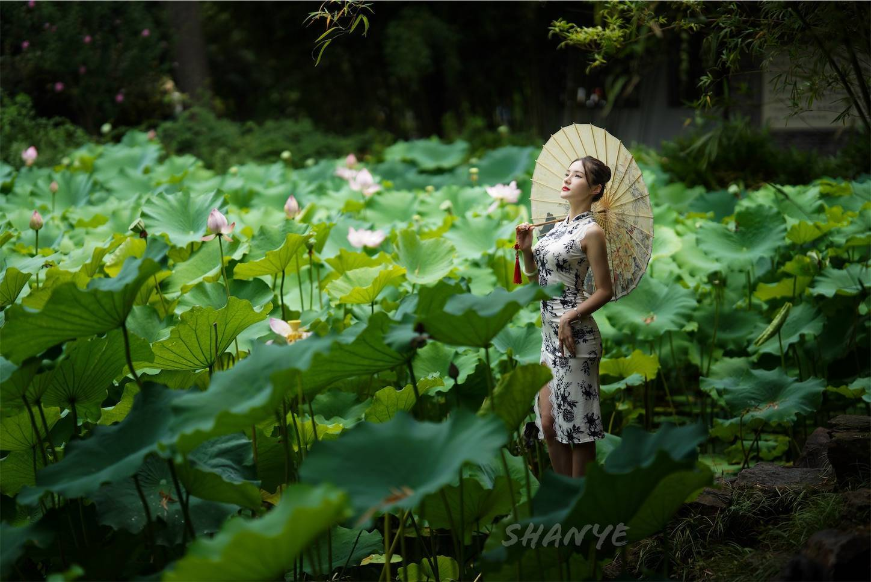 上海チャイナドレス美女,古猗园