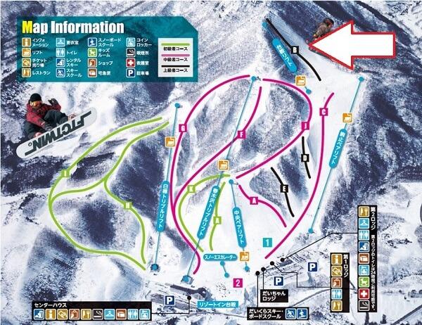 だいくらスキー場のコースマップ