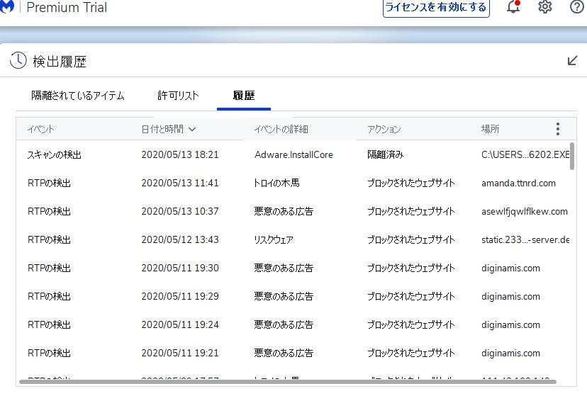 Malwarebyte 検出履歴