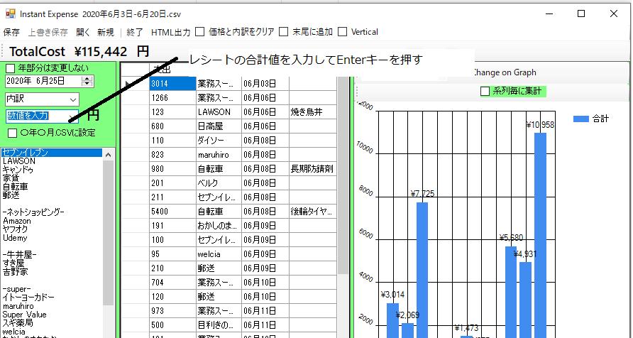 インスタント家計簿