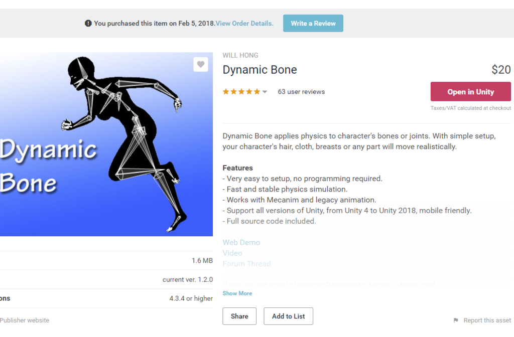 Dynamic Bones Unity Package
