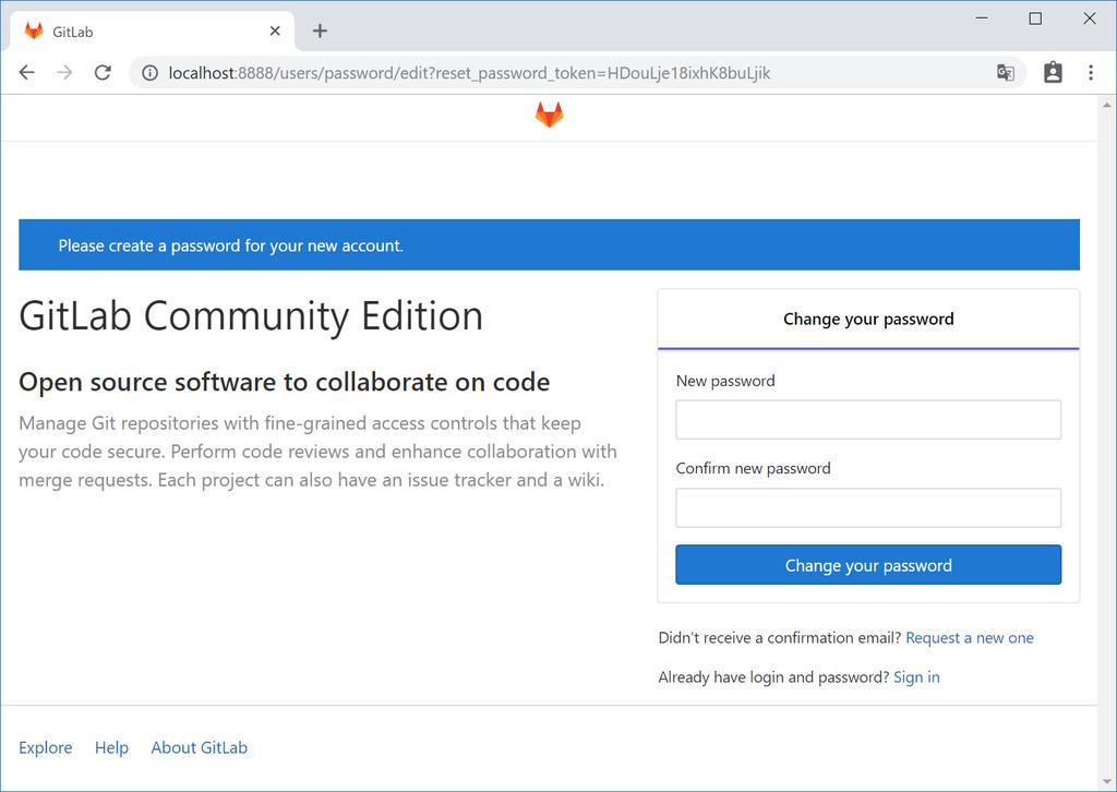 GitLabの初回ログイン時のログイン画面