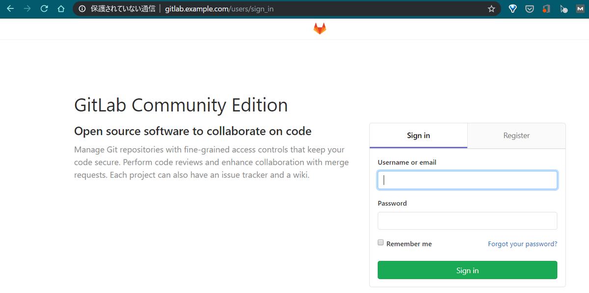 アドレスバーがgitlab.example.comで表示できた
