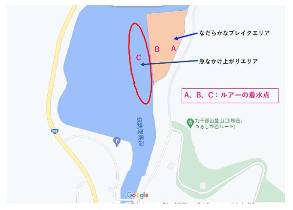 バス釣りポイント詳細図