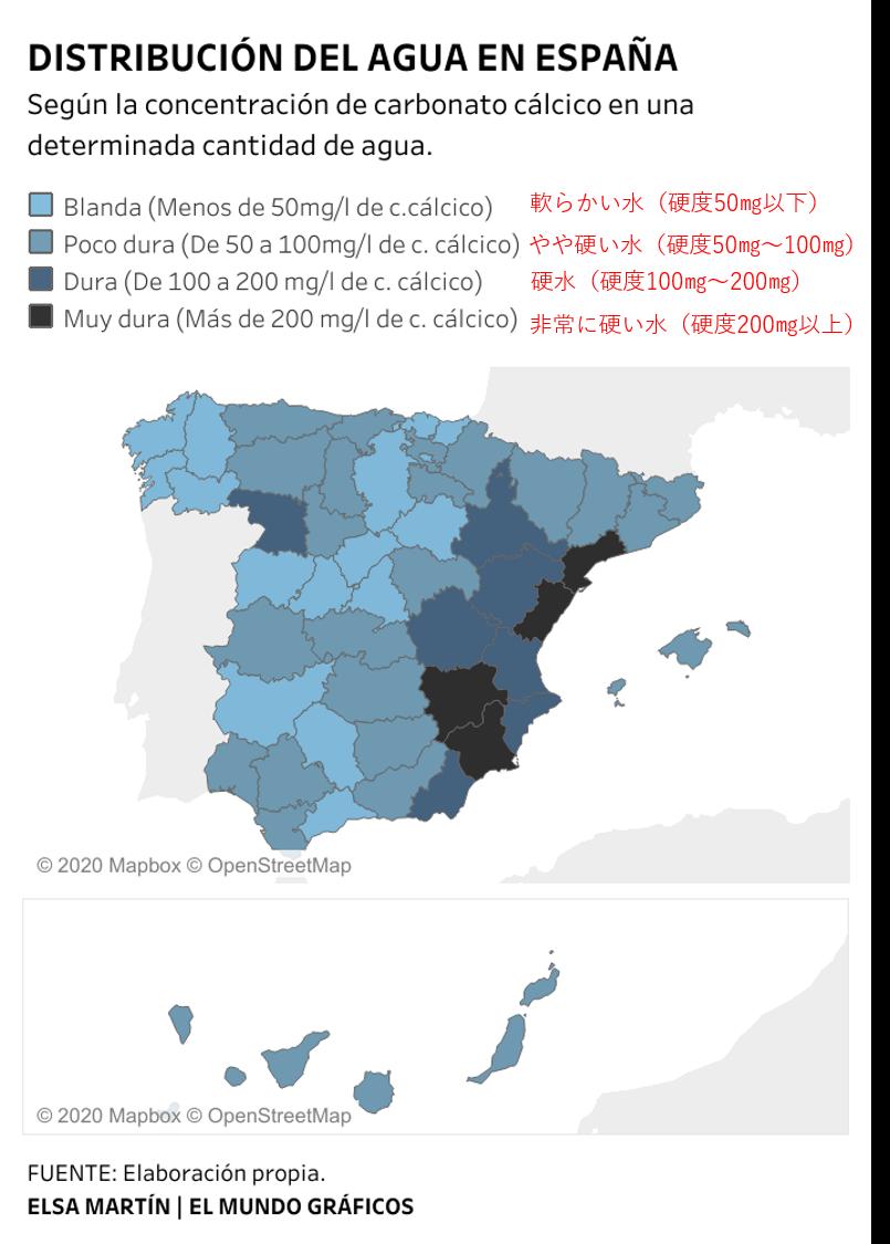 スペインの地域別の水硬度