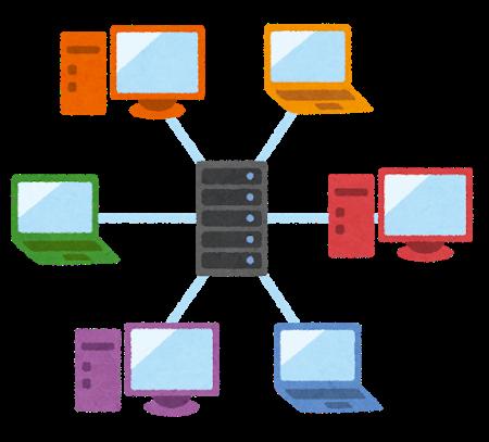 複数のユーザーがサーバーを利用しているイラスト