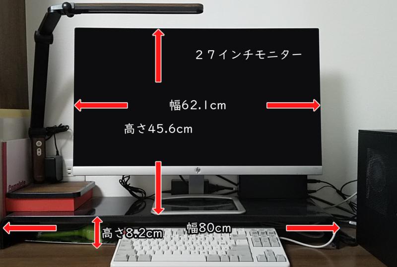 パソコン台とモニターサイズを表示した写真
