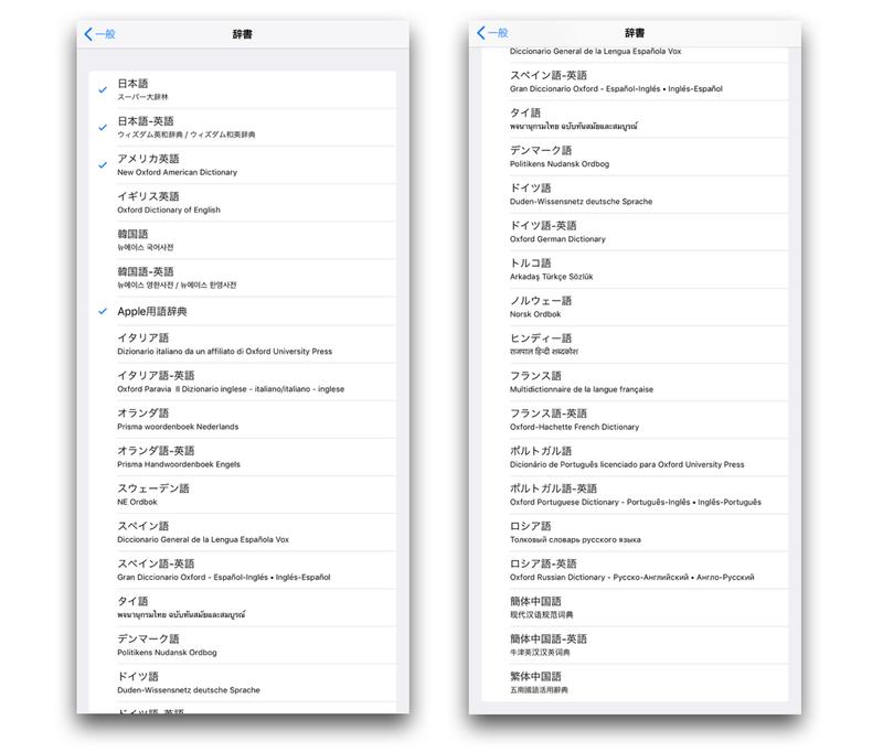 iOS11の設定アプリの辞書選択