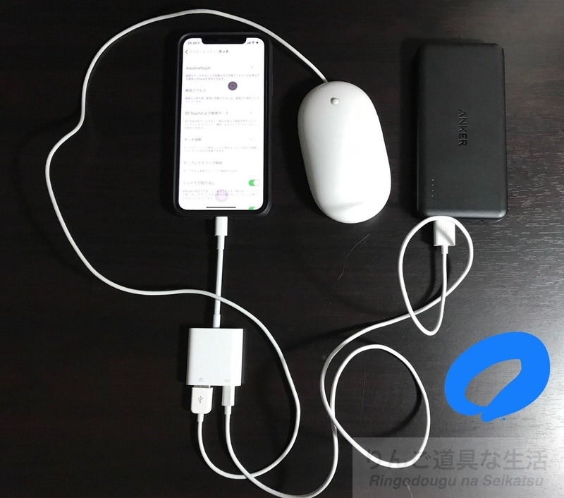 Apple USB マウスとアダプタとiPhone X