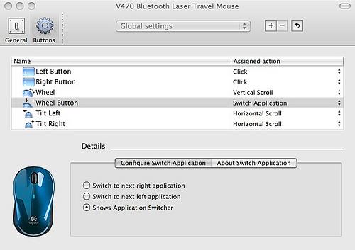 Logitech Bluetoothマウス設定画面