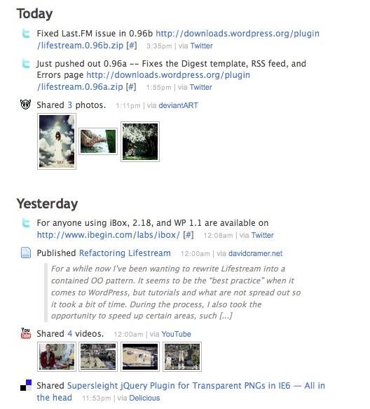 WordPressプラグインLifeStream反映画面