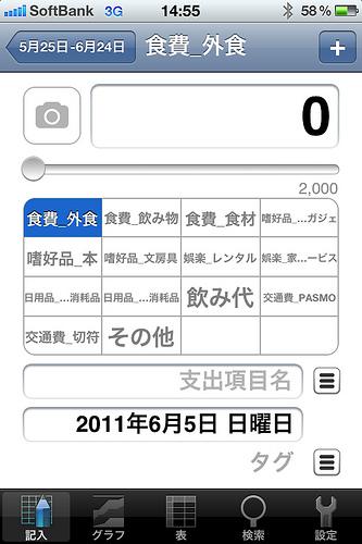 支出管理登録画面