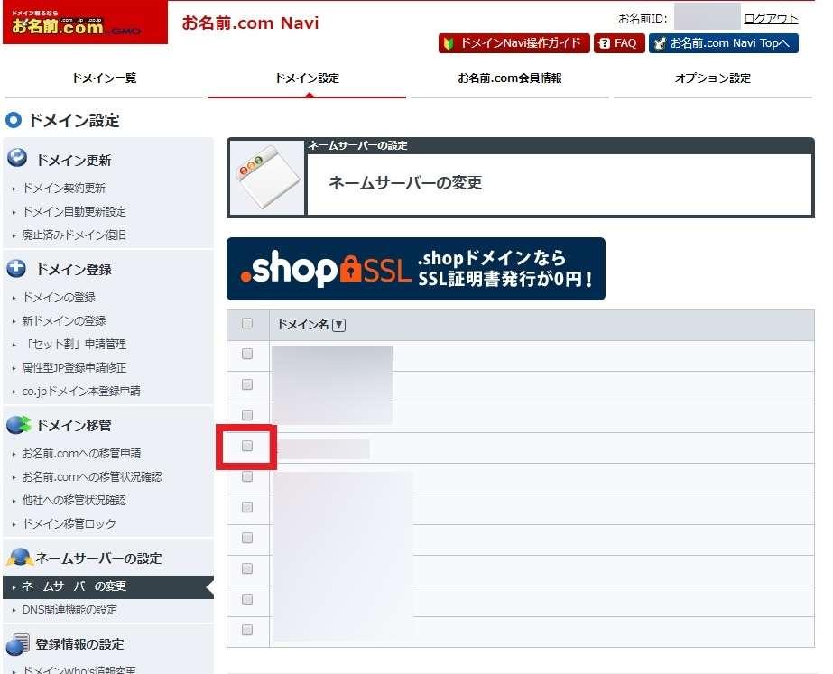 「お名前.com Navi」の「ネームサーバー変更」内でのドメイン選択画面の画像