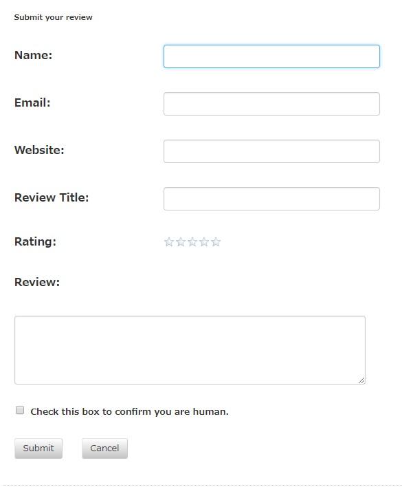 WP Customer Reviewsでデフォルト表示されるレビュー投稿フォームの画像